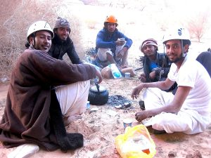 The main team of young bedouin climbers during climbing course on March 2017 with Wilfried Colonna.
