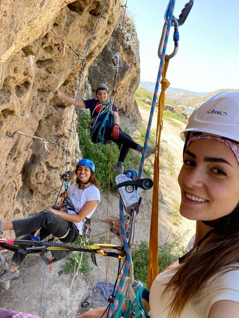 First ever female Jordan professional Rock Climbing Supervisors - Ahlam, Safa and Farah