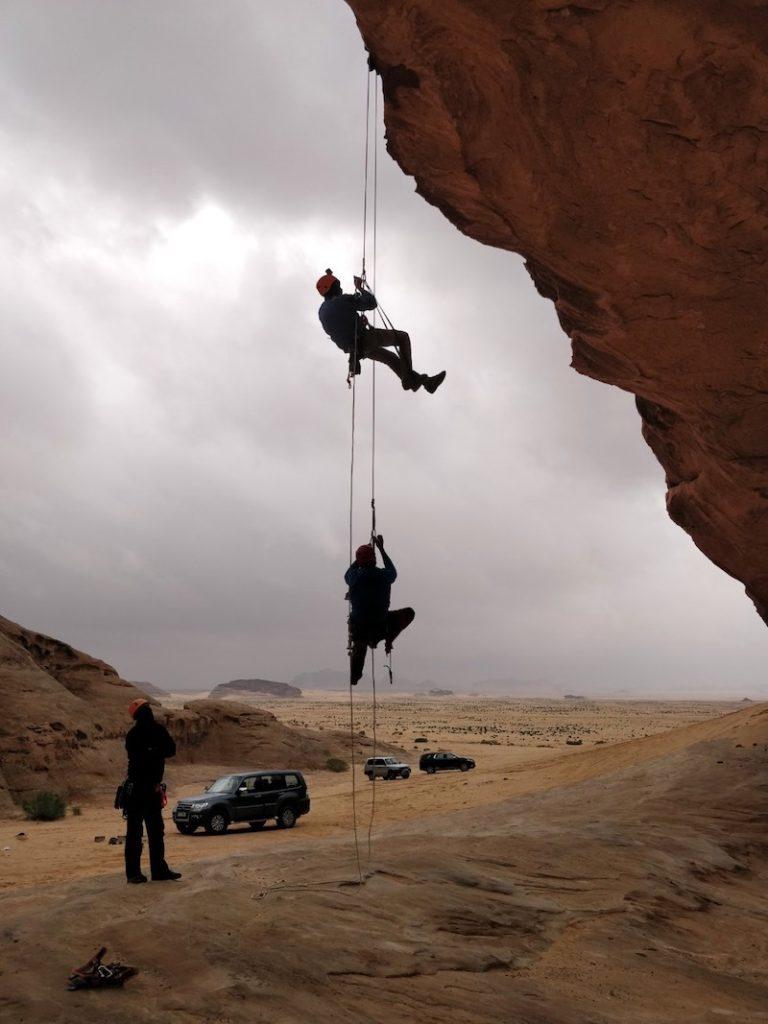 Rescue techniques by Jordan Mountain Guides, on Kharazeh Bridge in Wadi Rum area